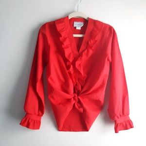 Vintage 80's Cherry Red Shapley Ruffle Blouse M